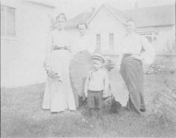 Jantha Bridgford, Salllie Barker and Son, Emma Cones at 401 N. Market St., Thorntown, IN.